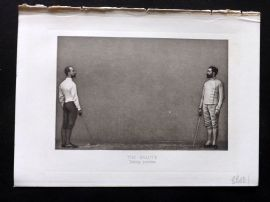 Badminton Library 1893 Antique Sword Fencing Print. The Salute, Taking Position